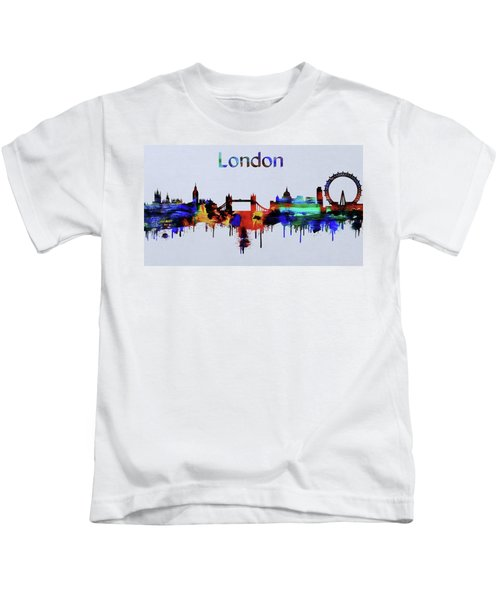 Colorful London Skyline Silhouette Kids T-Shirt by Dan Sproul