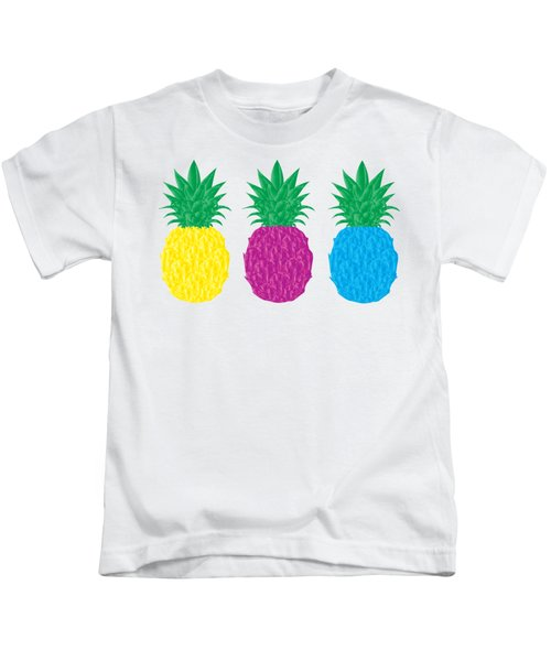 Colorful Pineapples Kids T-Shirt by Leah Hawkins
