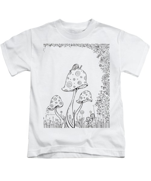 Coloring Page With Beautiful In The Garden 8 Drawing By Megan Duncanson Kids T-Shirt by Megan Duncanson