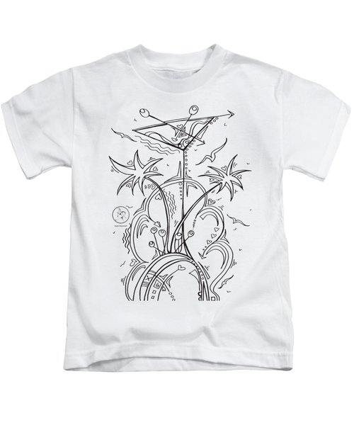 Coloring Page With Beautiful Tropical Martini Drawing By Megan Duncanson Kids T-Shirt by Megan Duncanson
