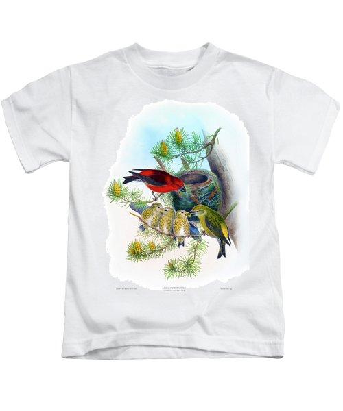 Common Crossbill Antique Bird Print John Gould Hc Richter Birds Of Great Britain  Kids T-Shirt by Orchard Arts