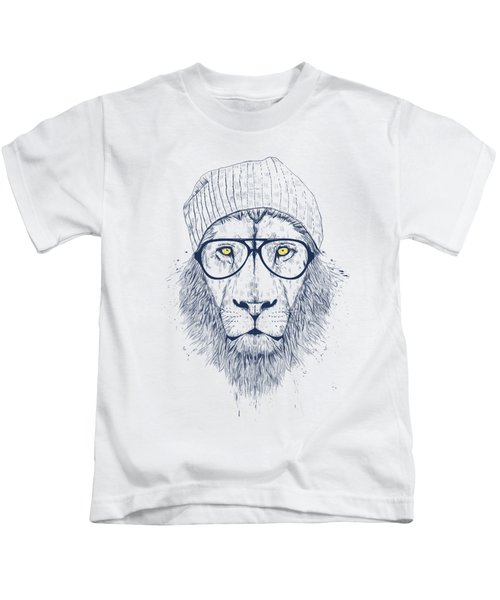 Cool Lion Kids T-Shirt by Balazs Solti