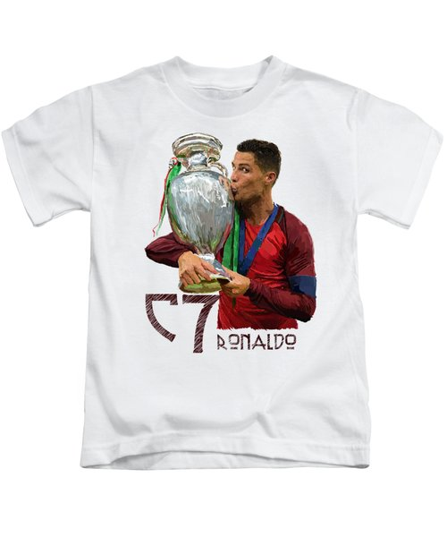Cristiano Ronaldo Kids T-Shirt by Armaan Sandhu