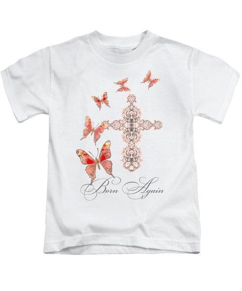 Cross Born Again Christian Inspirational Butterfly Butterflies Kids T-Shirt by Audrey Jeanne Roberts