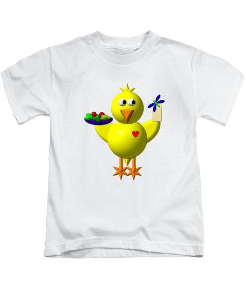 Cute Canary With Salad And Milk Kids T-Shirt by Rose Santuci-Sofranko