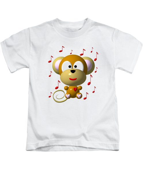 Cute Musical Monkey Kids T-Shirt by Rose Santuci-Sofranko