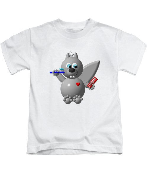 Cute Squirrel Brushing It's Hair And Teeth Kids T-Shirt by Rose Santuci-Sofranko