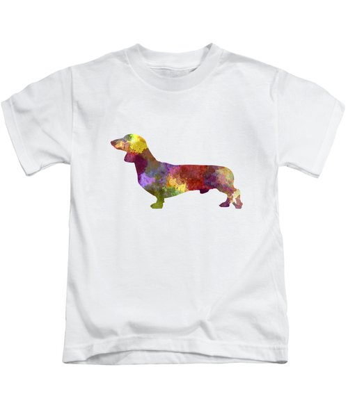 Dachshund In Watercolor Kids T-Shirt by Pablo Romero