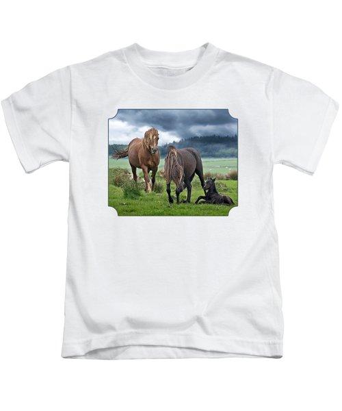 Dartmoor Ponies Kids T-Shirt by Gill Billington