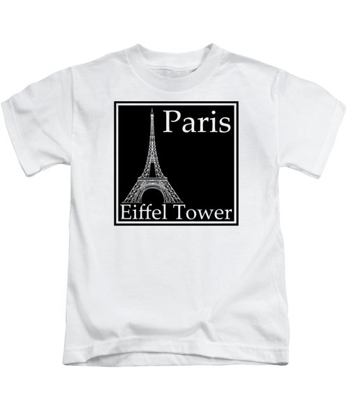 Eiffel Tower In Black Kids T-Shirt by Custom Home Fashions