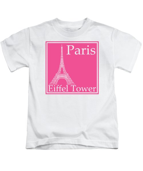 Eiffel Tower In French Pink Kids T-Shirt by Custom Home Fashions