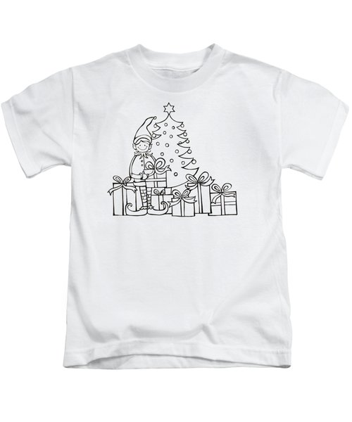 Elf And Presents  Kids T-Shirt by Mantra Y