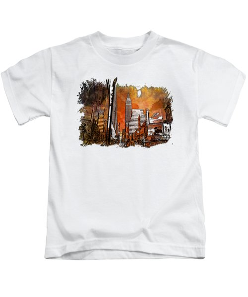 Empire State Reflections Earthy Rainbow 3 Dimensional Kids T-Shirt by Di Designs