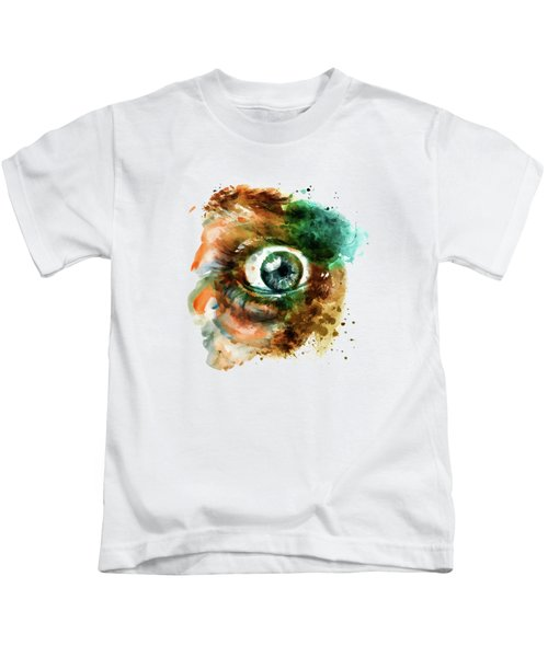 Fear Eye Watercolor Kids T-Shirt by Marian Voicu