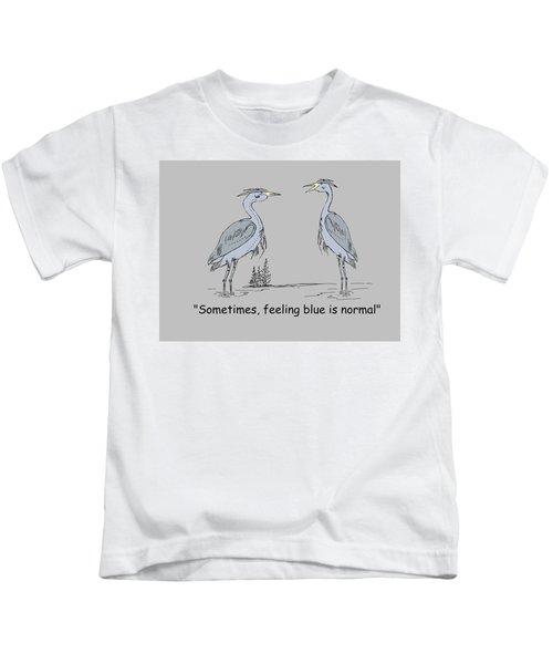 Feeling Blue Kids T-Shirt by Levi Soucy