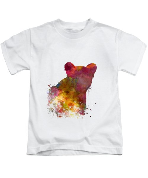 Female Lion 02 In Watercolor Kids T-Shirt by Pablo Romero