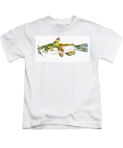 Fish Art Catfish Kids T-Shirt by Dan Sproul