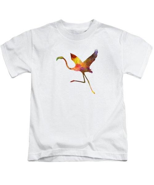 Flamingo 02 In Watercolor Kids T-Shirt by Pablo Romero