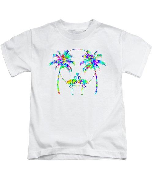 Flamingos In Love - Splatter Art Kids T-Shirt by Shara Lee