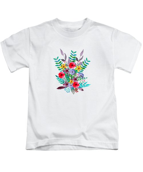 Floral Bouquet Kids T-Shirt by Amanda Lakey