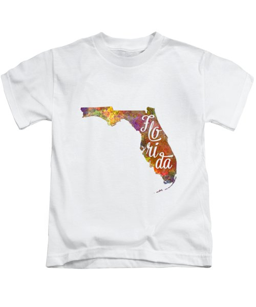 Florida Us State In Watercolor Text Cut Out Kids T-Shirt by Pablo Romero