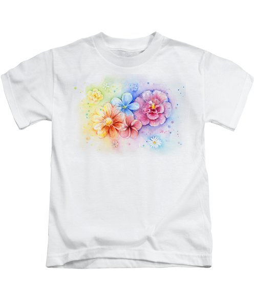 Flower Power Watercolor Kids T-Shirt by Olga Shvartsur