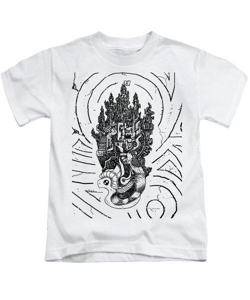 Flying Castle Kids T-Shirt by Sotuland Art