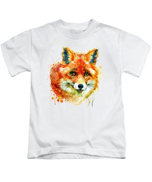 Fox Head Kids T-Shirt by Marian Voicu