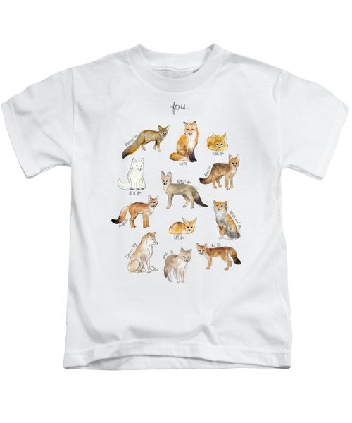 Foxes Kids T-Shirt by Amy Hamilton