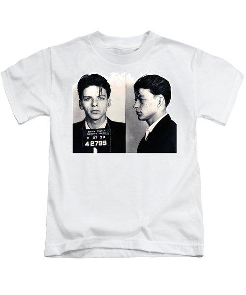 Frank Sinatra Mug Shot Horizontal Kids T-Shirt by Tony Rubino
