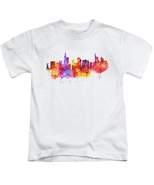 Frankfurt Skyline Kids T-Shirt by Marian Voicu