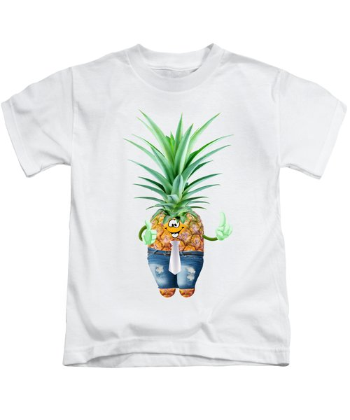 Fun Pineapple  Kids T-Shirt by Elena Nikolaeva