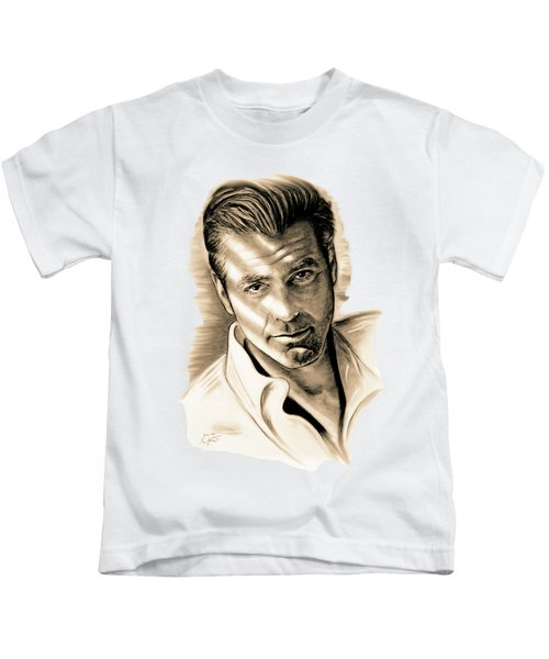 George Clooney Kids T-Shirt by Gitta Glaeser