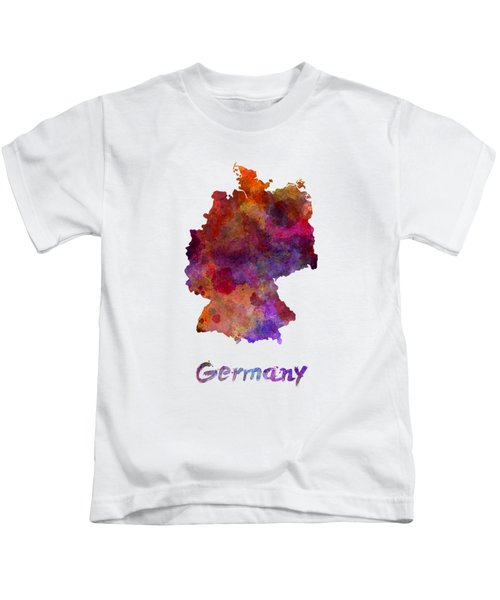 Germany In Watercolor Kids T-Shirt by Pablo Romero
