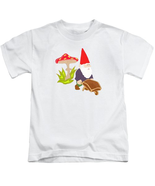 Gnome Garden Kids T-Shirt by Priscilla Wolfe