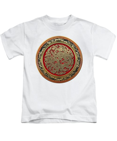 Golden Chinese Dragon White Leather  Kids T-Shirt by Serge Averbukh