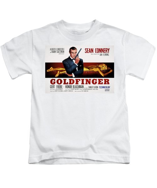 Goldfinger James Bond French Lobby Poster Painterly Kids T-Shirt by Daniel Hagerman