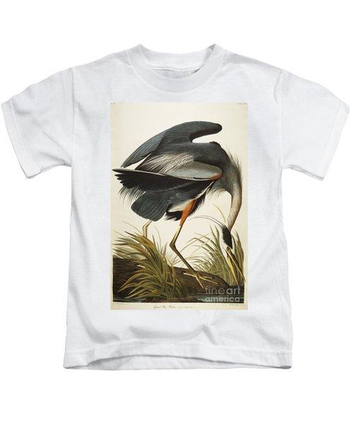 Great Blue Heron Kids T-Shirt by John James Audubon