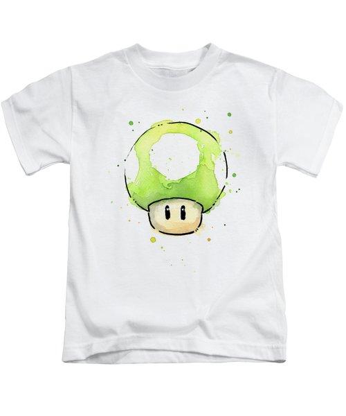 Green 1up Mushroom Kids T-Shirt by Olga Shvartsur