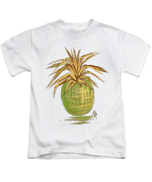 Green Gold Pineapple Painting Illustration Aroon Melane 2015 Collection By Madart Kids T-Shirt by Megan Duncanson