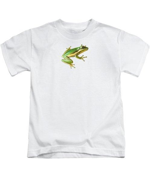 Green Tree Frog Kids T-Shirt by Sarah Batalka