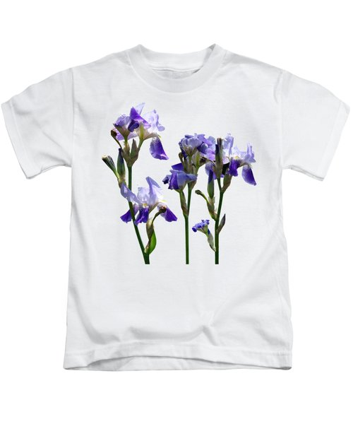 Group Of Purple Irises Kids T-Shirt by Susan Savad