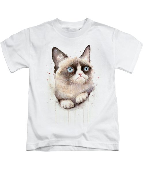 Grumpy Cat Watercolor Kids T-Shirt by Olga Shvartsur