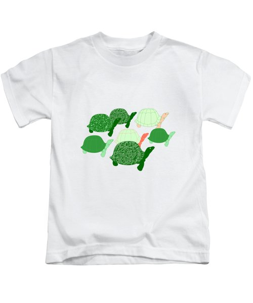 Herd Of Turtles Pattern Kids T-Shirt by Methune Hively