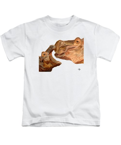 Hippos Kids T-Shirt by Angeles M Pomata