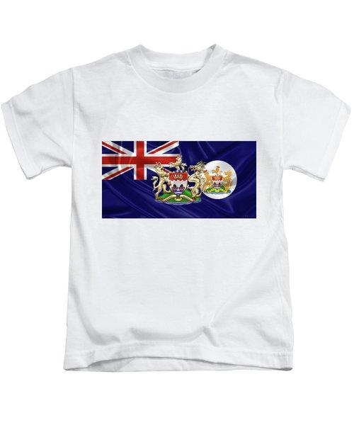 Hong Kong - 1959-1997 Historical Coat Of Arms Over British Hong Kong Flag  Kids T-Shirt by Serge Averbukh