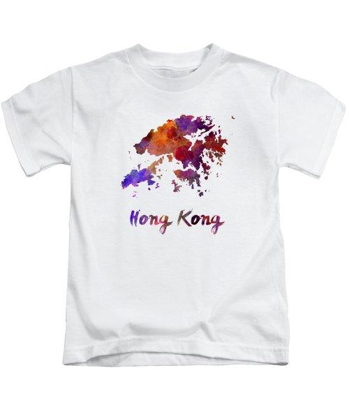Hong Kong In Watercolor Kids T-Shirt by Pablo Romero