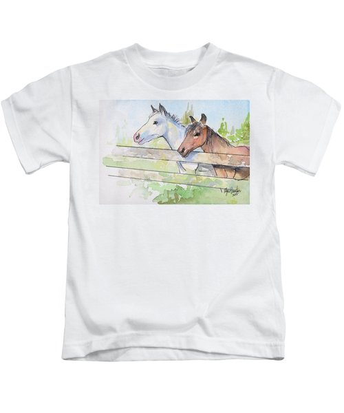 Horses Watercolor Sketch Kids T-Shirt by Olga Shvartsur
