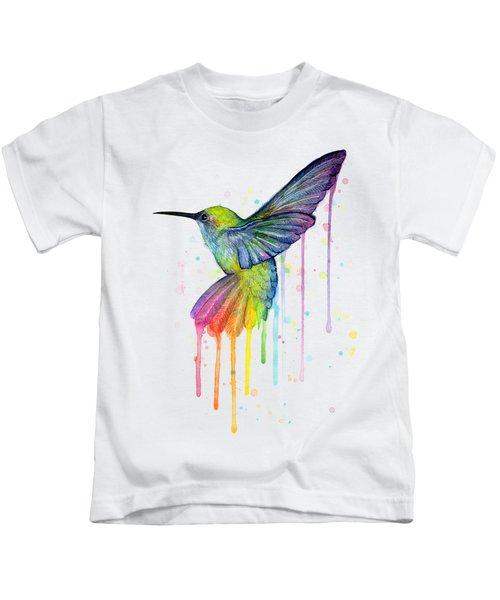 Hummingbird Of Watercolor Rainbow Kids T-Shirt by Olga Shvartsur