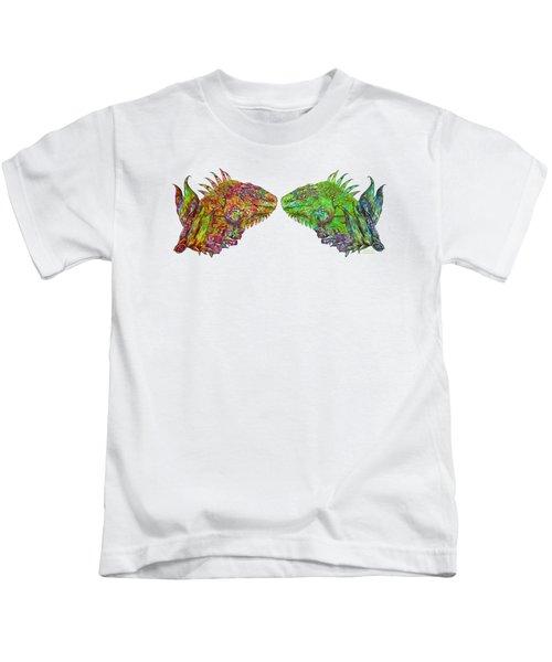 Iguana Love Kids T-Shirt by Carol Cavalaris